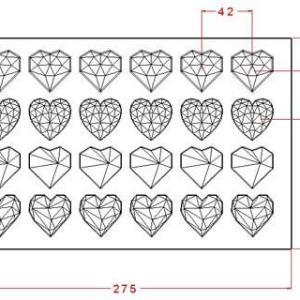 """Поликарбонатная форма для конфет IM812 """"Граненые сердца"""""""