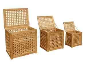 Wood Laundry Bin Set