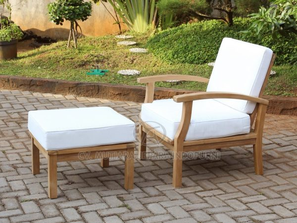Lounge Chair with Stool for Outdoor Furniture