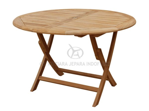 Round Easy Fold Table 120CM Slat 3CM