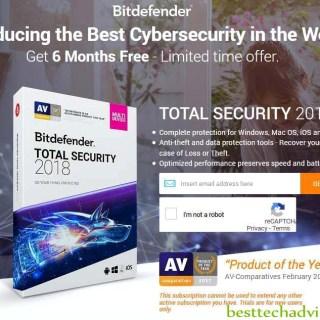 Bitdefender Total Security 2018 Free 6 Months License Key