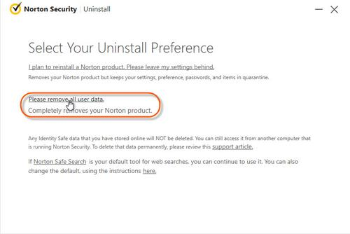 Uninstall Norton Products