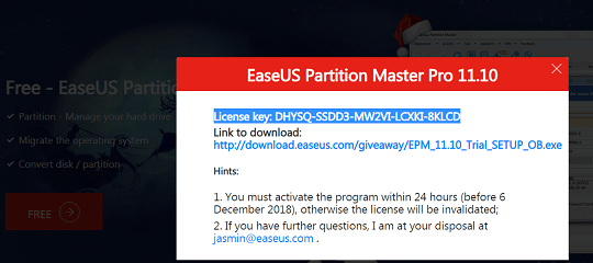 EASEUS Partition Master Pro Free License Key