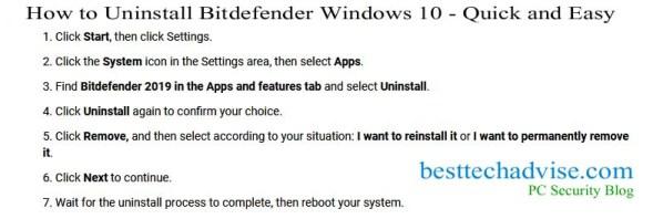 How to Uninstall Bitdefender Windows 10