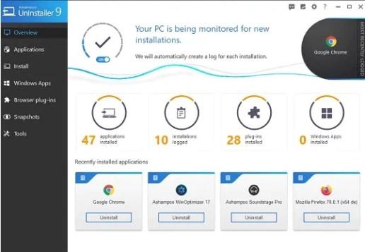 Ashampoo UnInstaller 9 License Key Free Full Version