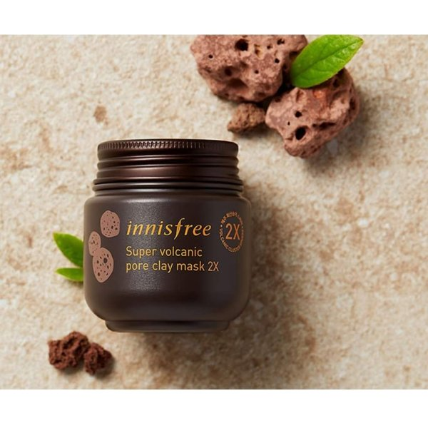 Pore clearing clay mask 2X with super volcanic clusters