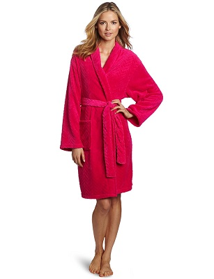 Ladies Lightweight Contrast Waffle Robe 100/% Cotton Gown Summer Bath Hotel SPA