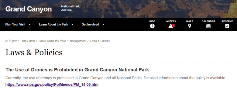 Picture of Grand Canyon Drone Policy