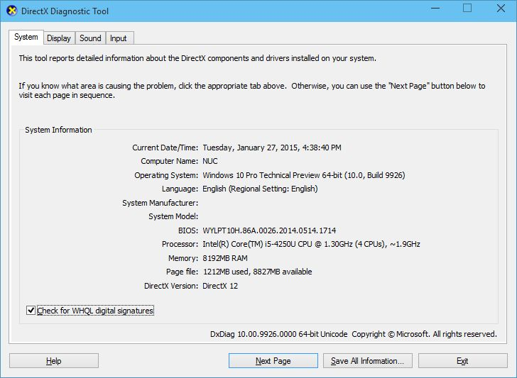 dxdiag cara instal windows 10