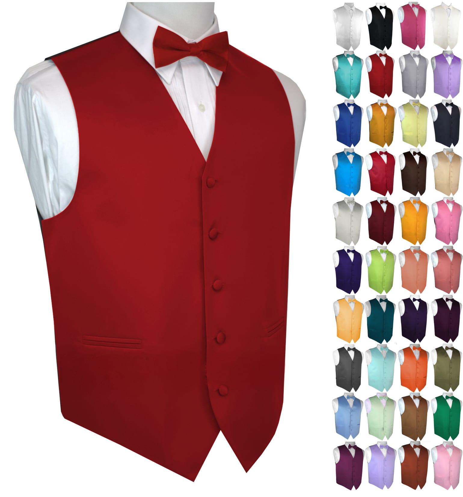 New Mens Size Berry Solid Satin Tuxedo Vest Tie Set Formal Groom Wedding Prom