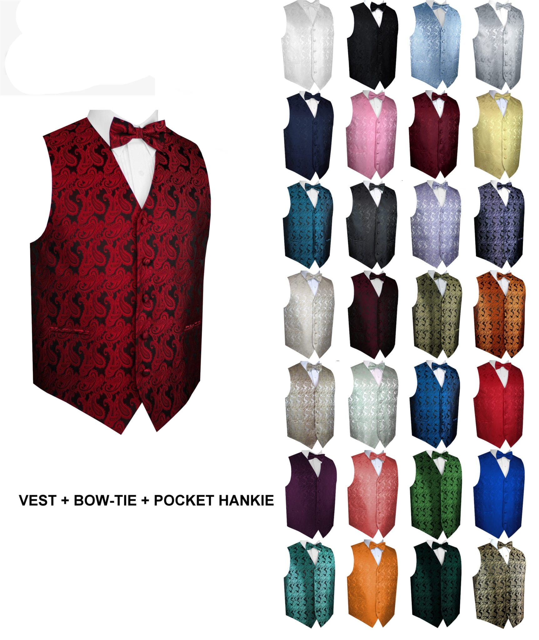 Mens Formal Tuxedo Vest /& Bow-Tie Set in Orange Paisley