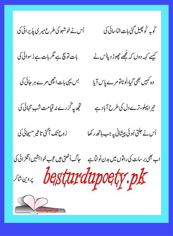 ku ba ku phail gai - parveen shakir - besturdupoetry.pk