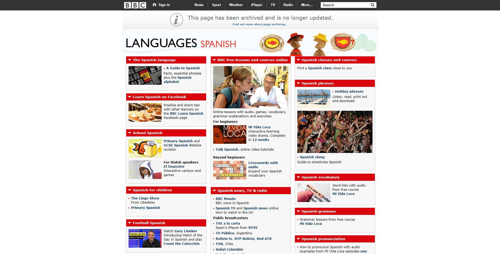 BBC Spanish Learning Website
