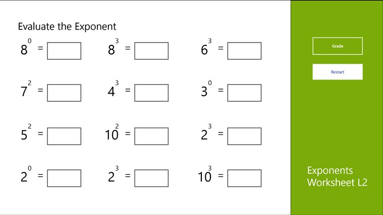 Exponents Worksheet L2 For Windows 8 And 8 1