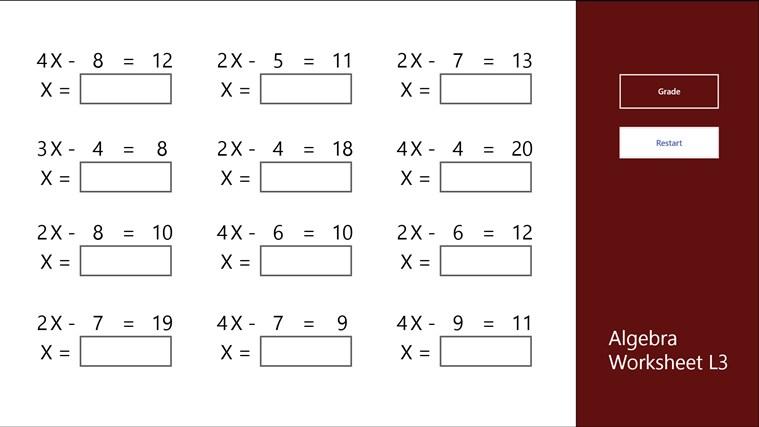 Algebra Worksheet L3 For Windows 8 And 8 1