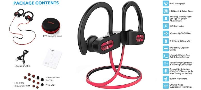Mpow Flame Bluetooth Headphones Waterproof IPX7