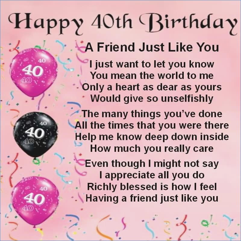 40th Birthday Card Message For Friend Drive Cheapmotorhome Info