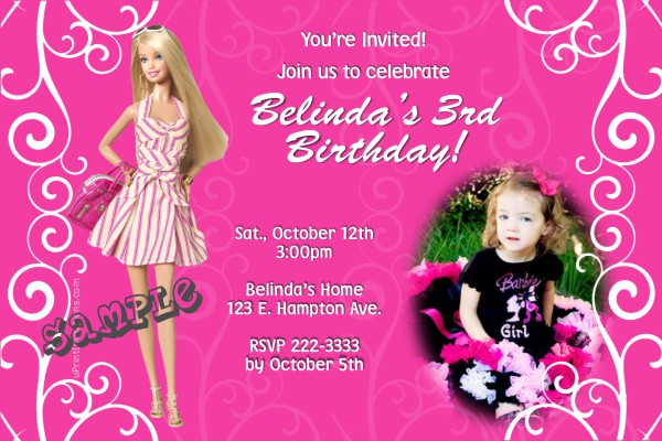 blank barbie birthday invitation card