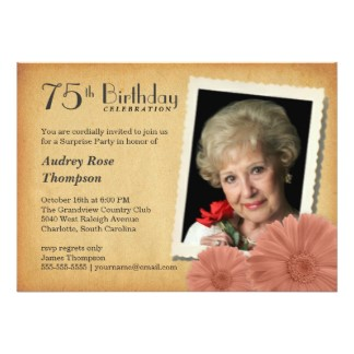birthday invitation for 75 years old