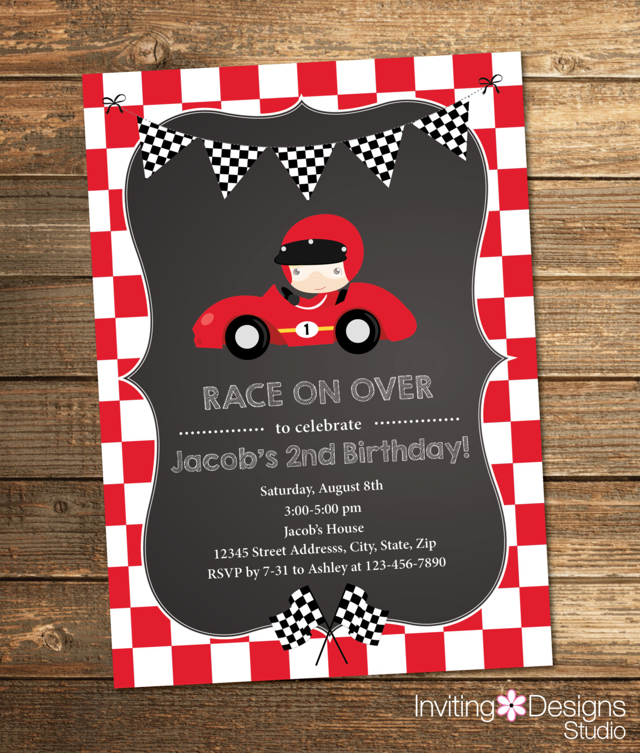 race car birthday invitation wording