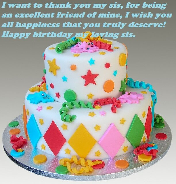 For Sister Happy Birthday Cards With Cakes Daily Motivational Quotes