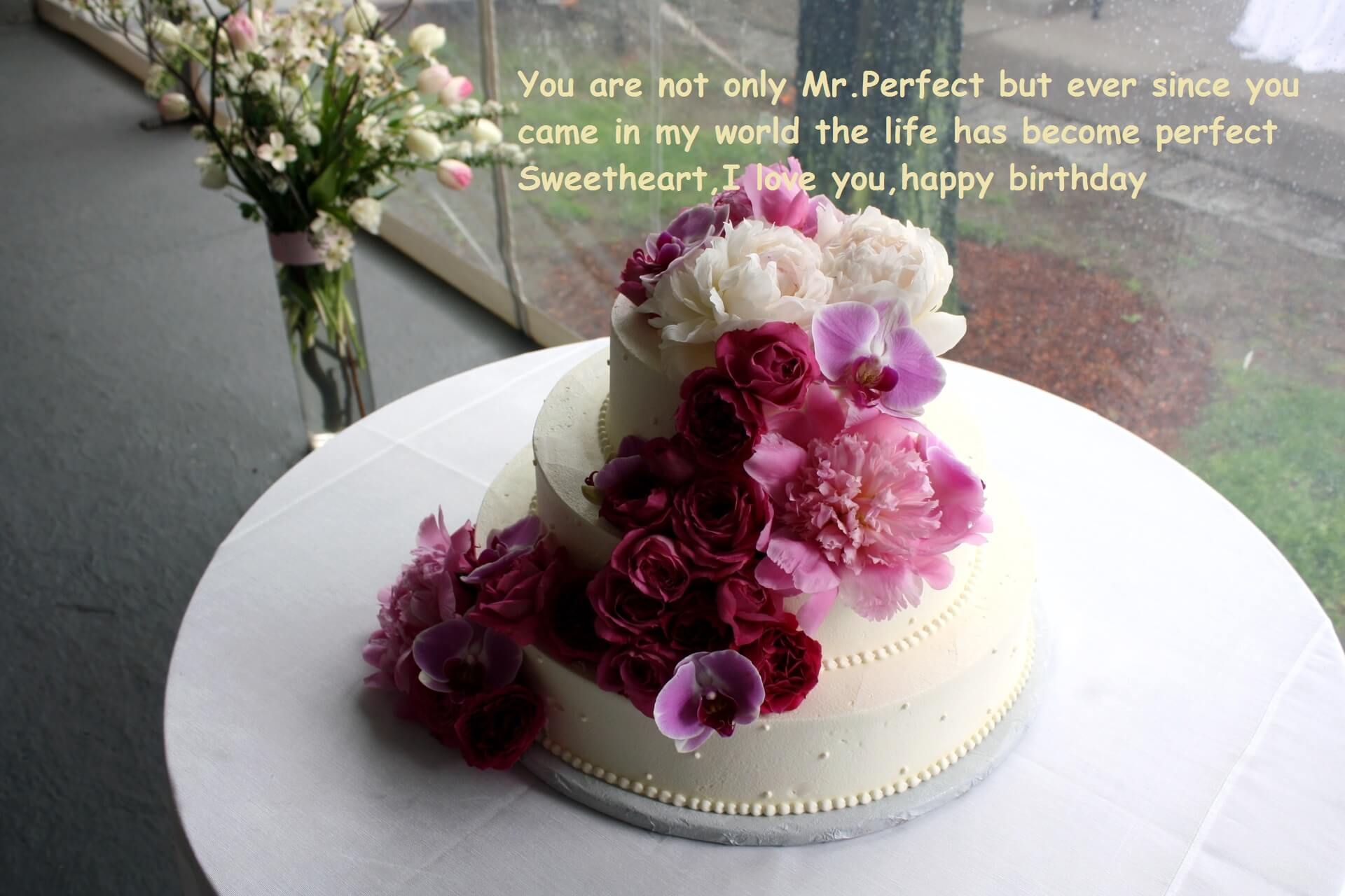 Images Of Cake With Wishes : Happy Birthday Cake Wishes With Flowers Best Wishes