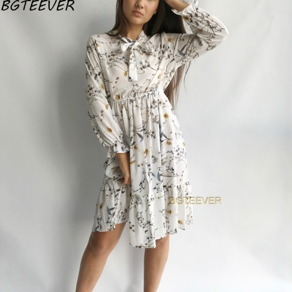 Chiffon Party Dress Flower Print Floral Bohemian Dress