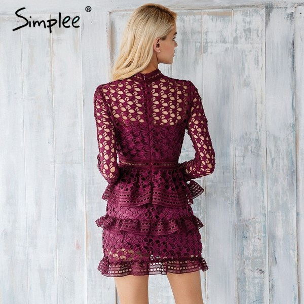 Elegant Hollow Out Ruffle Lace Dress