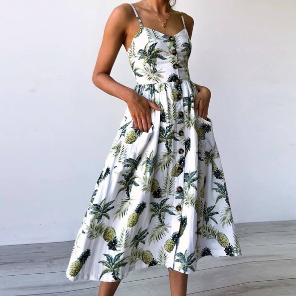 Floral Summer Beach Sundress Daisy Party Midi Dresses