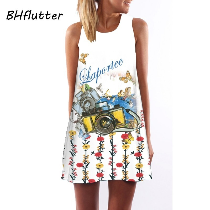 Short Beach Dress Women Casual Bohomian Dress
