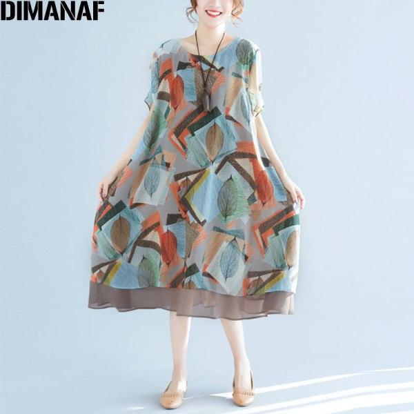 Summer Women Chiffon Dress Print Loose Dresses