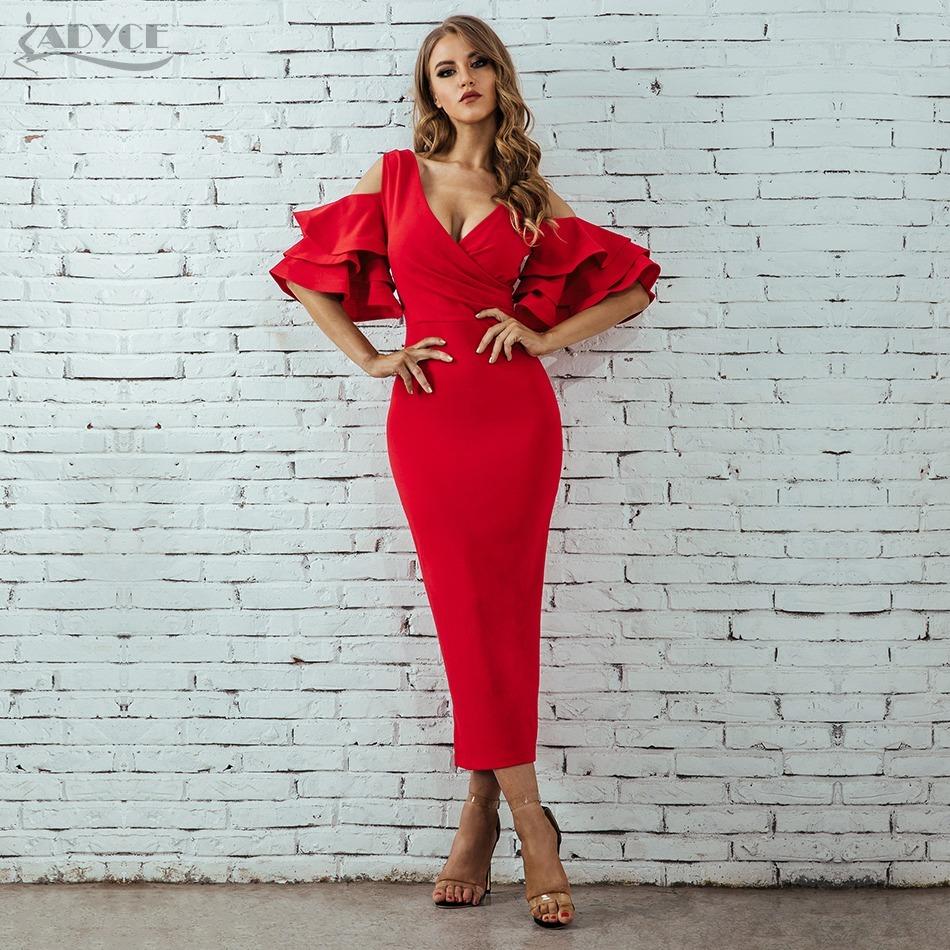 Women Club Dress Celebrity Party Dress Midi Dresses