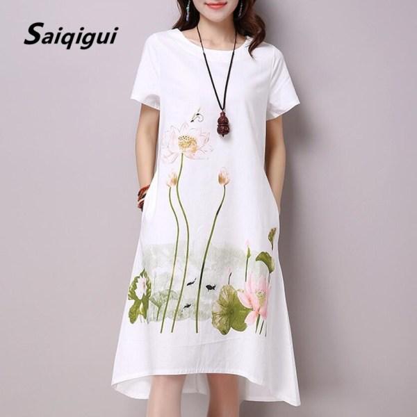Women Dress Casual Cotton Linen Dress Lotus Printing