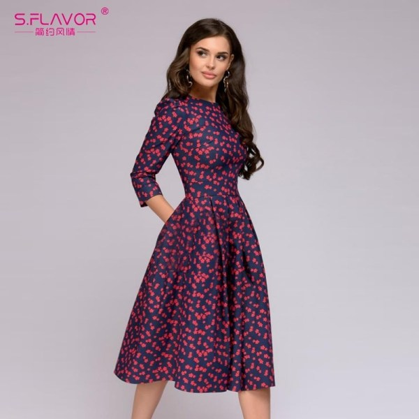 Women Elegant A-line Dress Printing Party Vestidos
