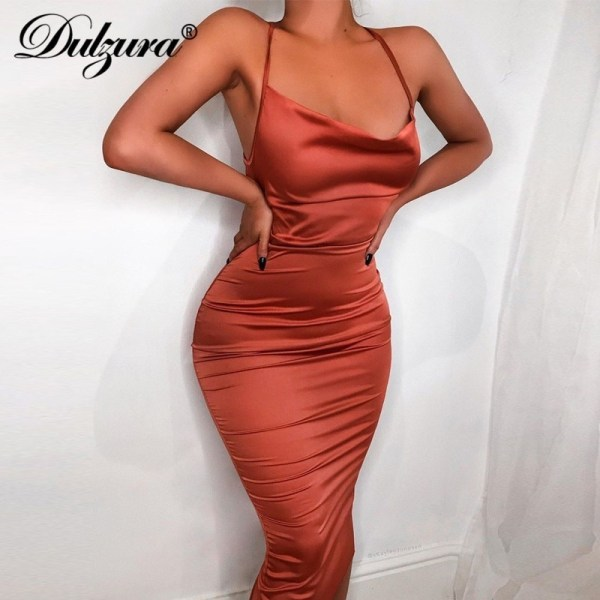 Women Long Dress Satin Backless Elegant Party Dress