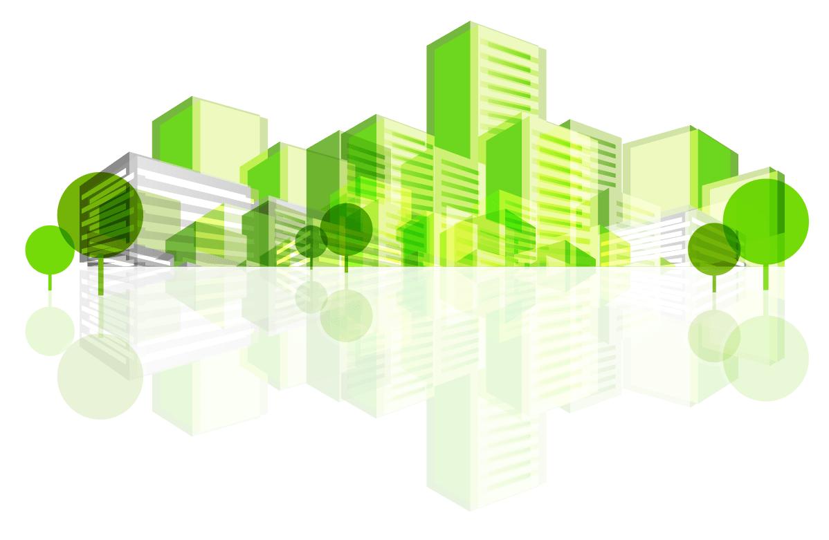 image vectoriel bâtiments verts et écologiques - écoconstruction - bet sai