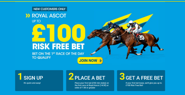 £100 Risk Free Bet for Royal Ascot Day on Friday and Saturday