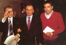 Ion Iliescu si Petre Roman, in 1990