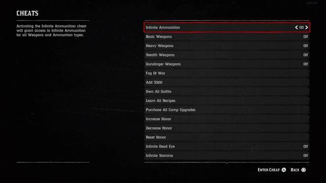 Red Dead Redemption 2's cheat code menu. Credit: Rockstar Games