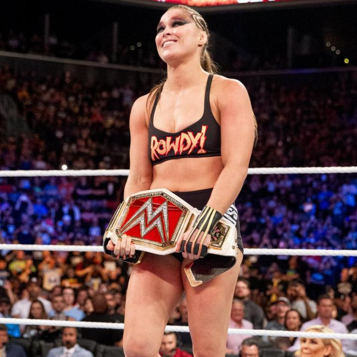 Rousey wins her first WWE title. Image: WWE