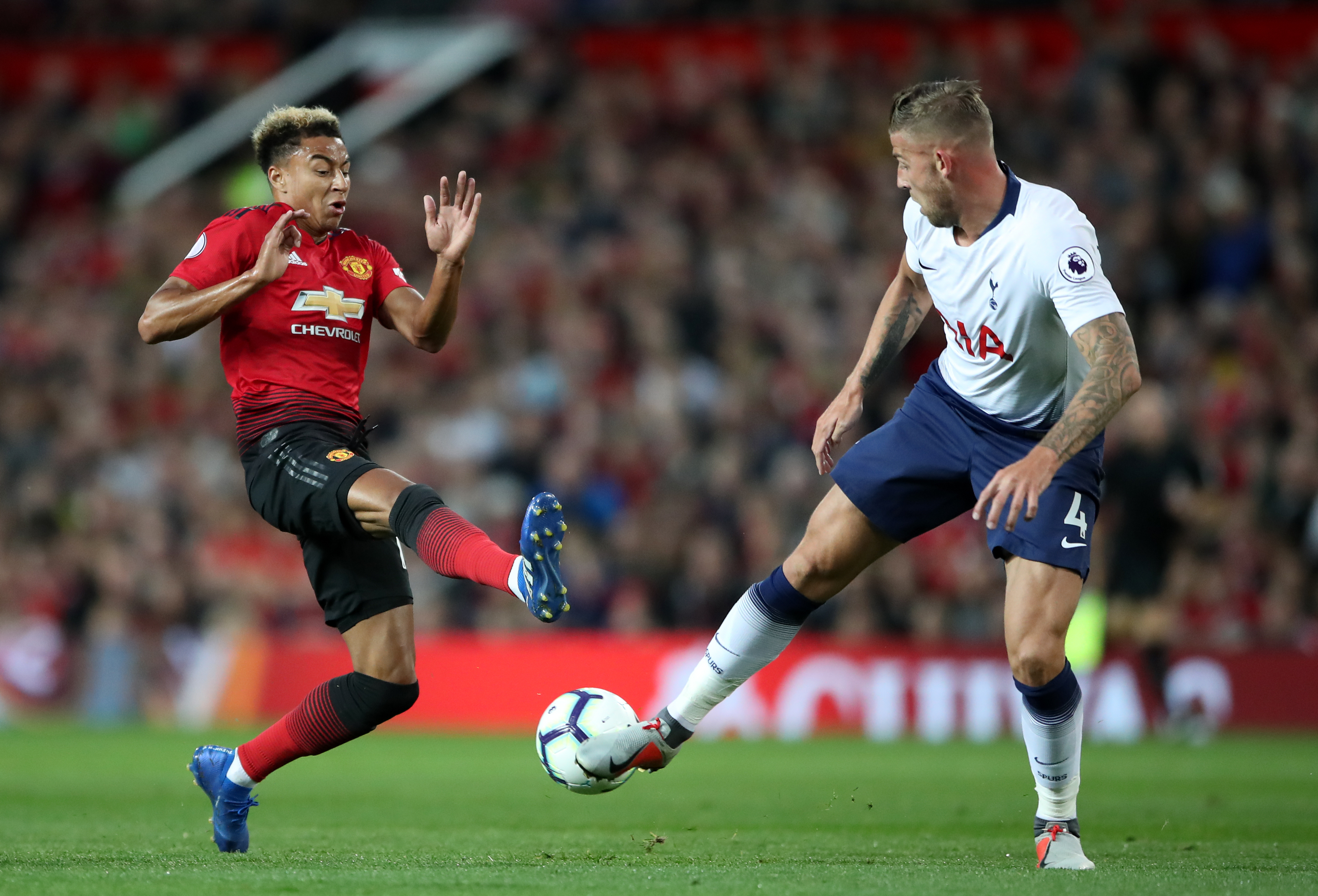 Alderweireld stops Jesse Lingard in the recent game. Image: PA Images