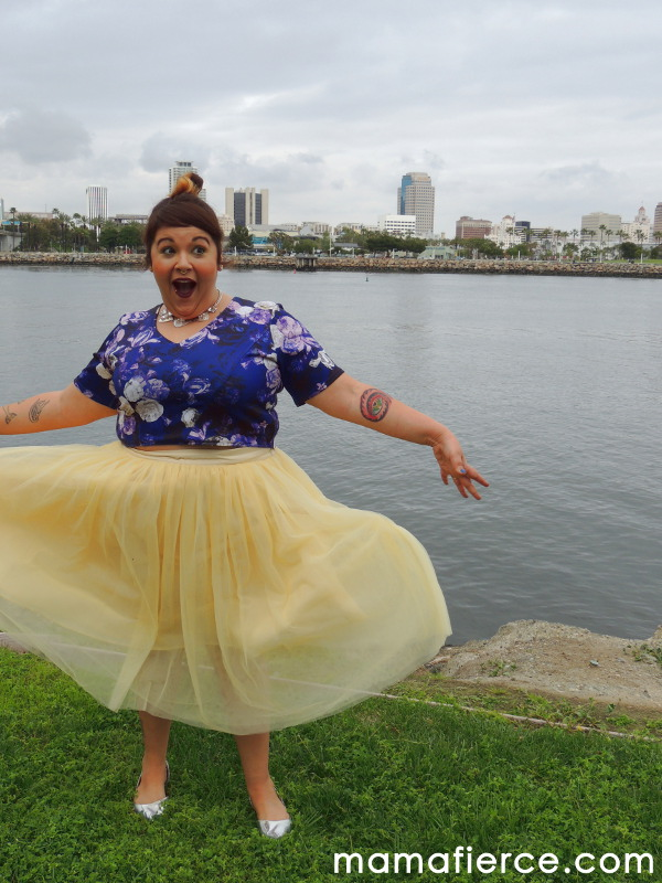 Yellow tulle plus size skirt