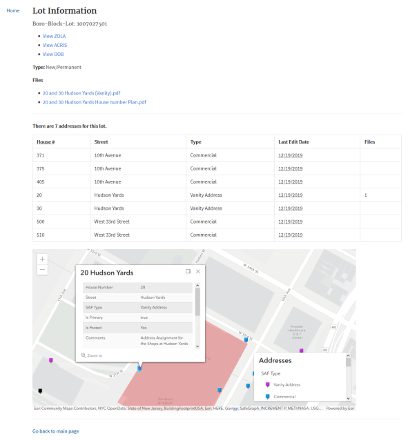 This image has an empty alt attribute; its file name is pasted-image-0-1-947x1024.png Screenshot of the tax lot information view. It shows the files attached (letter and images), useful links to ZOLA, ACRIS and DOB, and all address assignments and types on the lot.