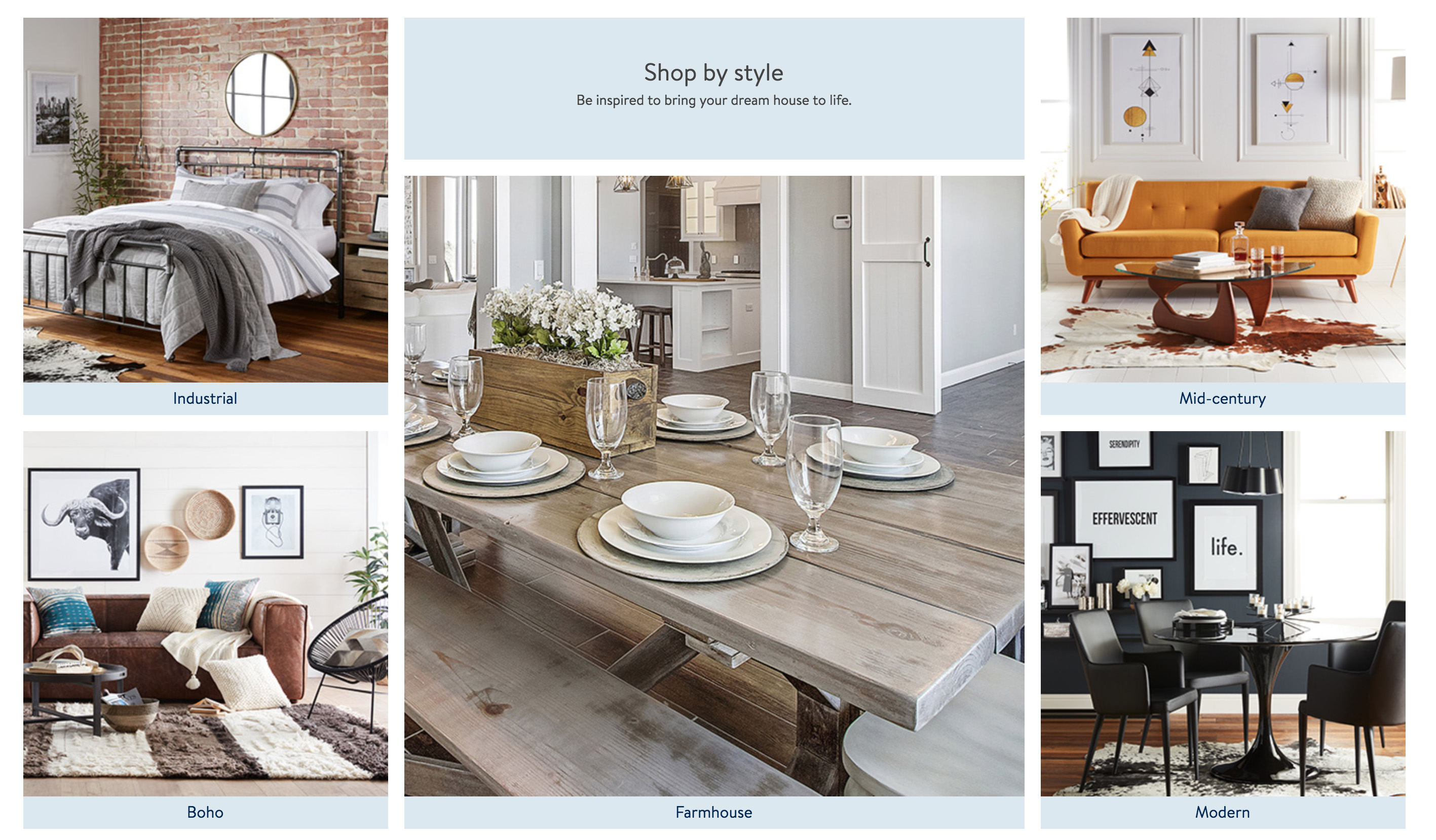 Walmart launches a new home shopping site for furniture and home     Unlike Walmart s typical shopping experience  it will also use  editorial style imagery and will include design tips written by in house  staff