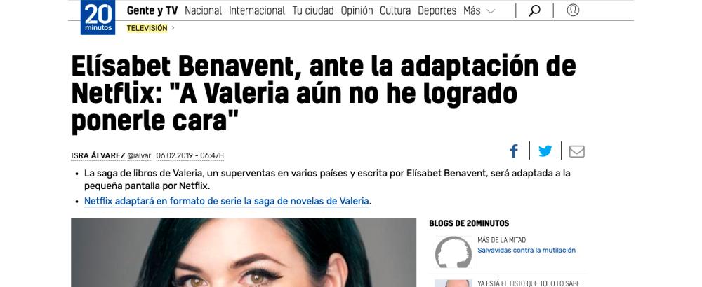 """Elísabet Benavent, ante la adaptación de Netflix: """"A Valeria aún no he logrado ponerle cara"""""""