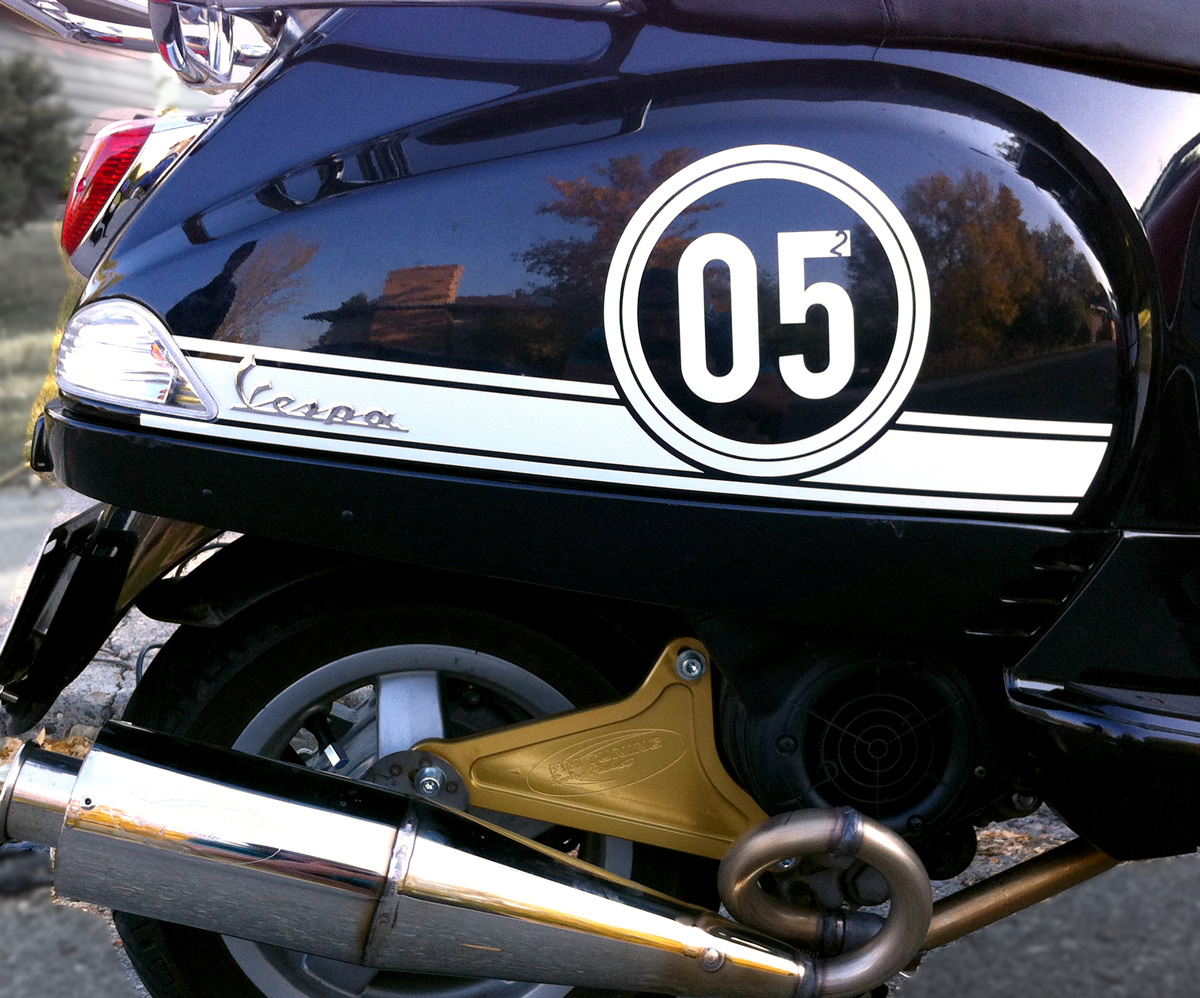 Vespa Racing stripes and numbers decal kit
