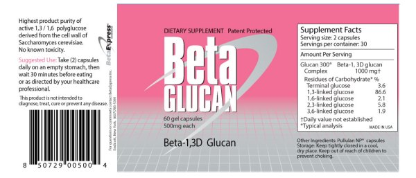 beta glucan 500mg beta express pills - Beta 1,3 - 1,6 Glucan - 1 bottle 60 Capsules (500 mg each)