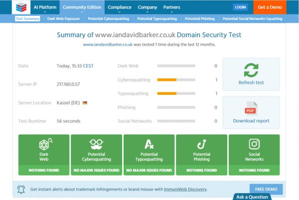 Teste da web escura ImmuniWeb