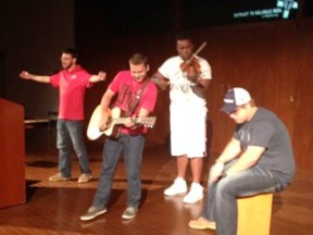 Worshipping with your brothers. It doesn't get much better than this, now does it? At HBU there are many different talents and it's exciting and refreshing to see how God has gifted these guys in unique ways within the realm of music and beyond.
