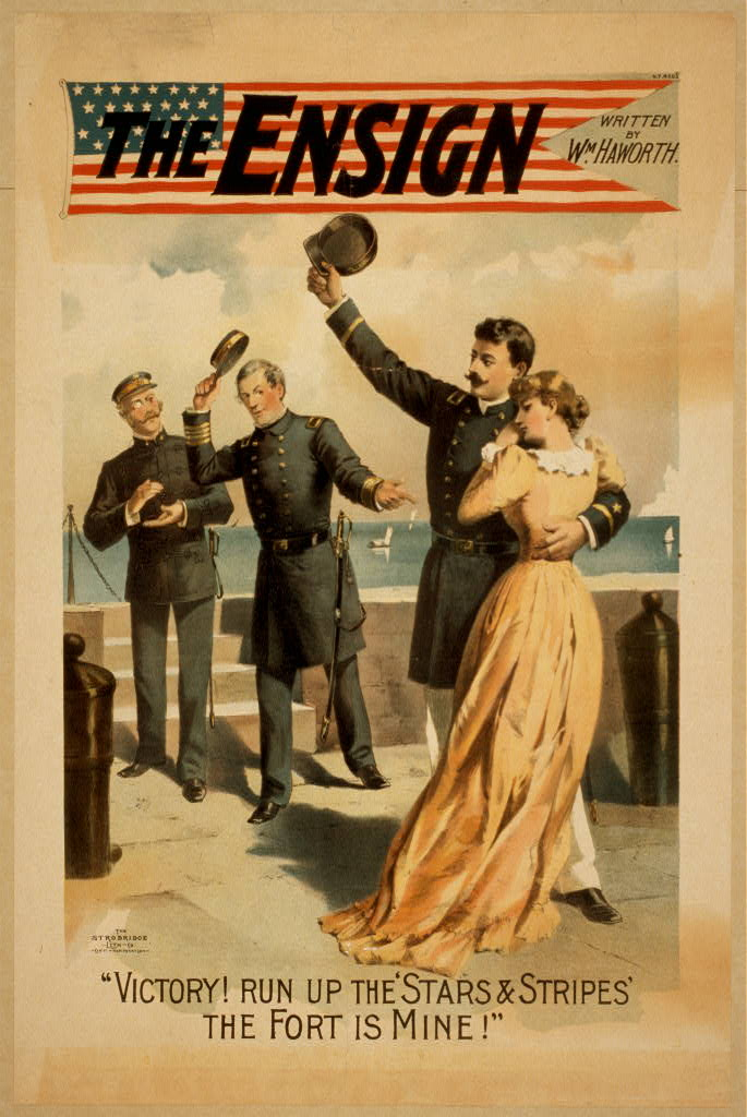 """""""THE ENSIGN written by Wm. Haworth.""""Library of Congress Theatrical Poster Collection."""